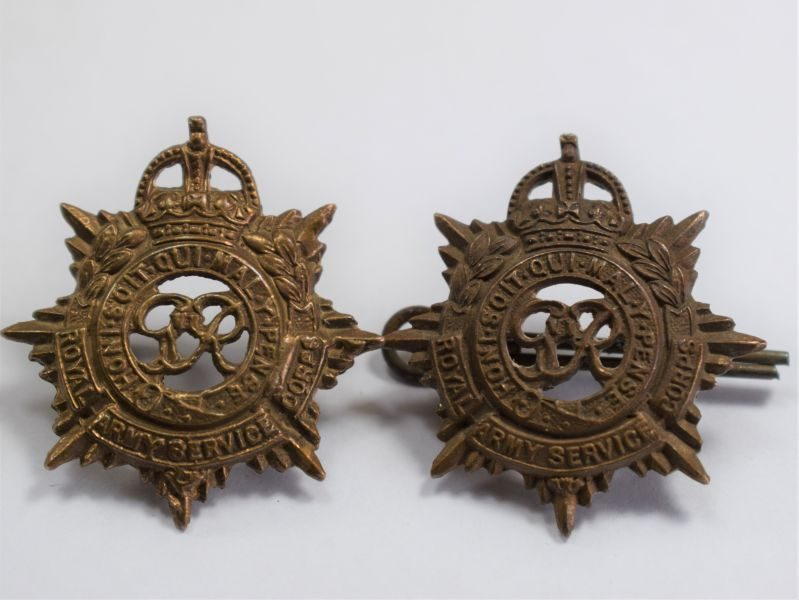 81) Original WW2 Royal Army Service Corps Collar Dog Pair