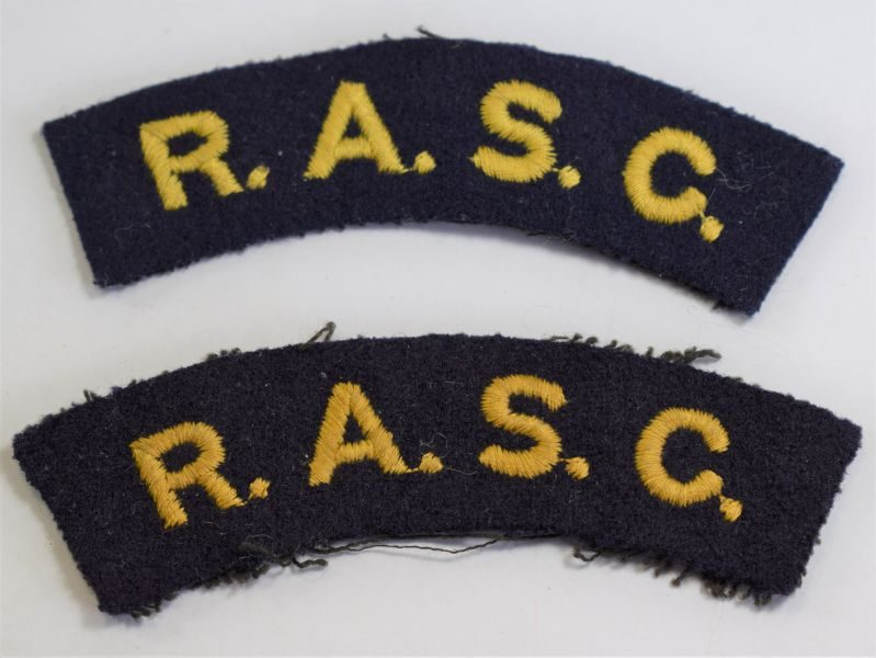83) Original WW2 RASC Cloth Shoulder Title Pair.
