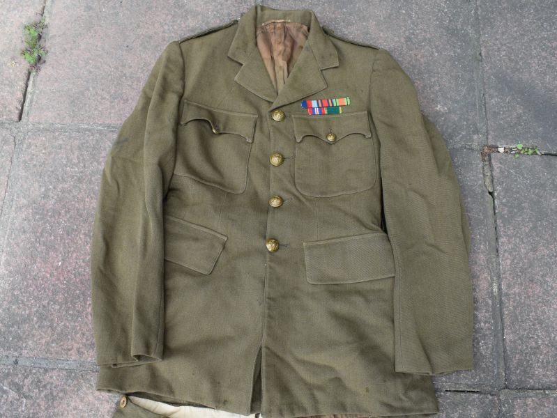 93) Original WW2 British Officers Service Dress Uniform E.J.Leeder Royal Sussex Regiment