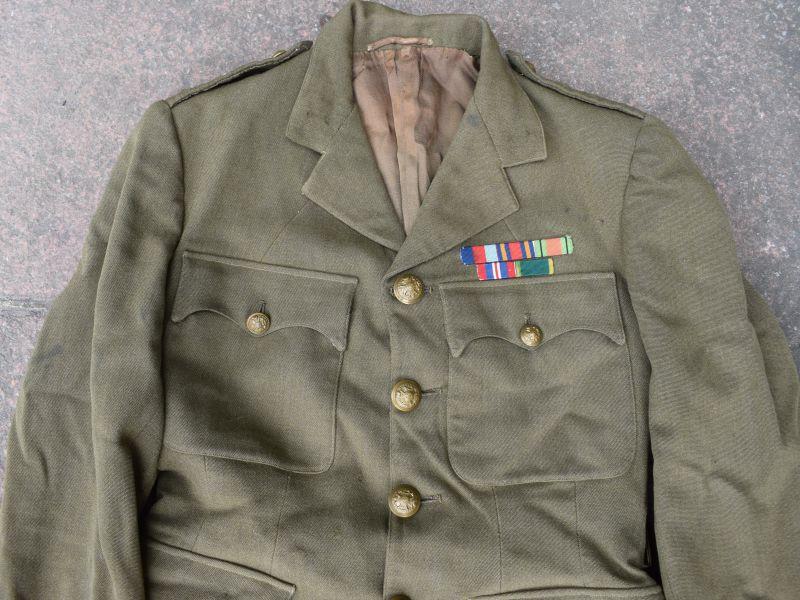 93) Original WW2 British Officers Service Dress Uniform E J Leeder Royal  Sussex Regiment