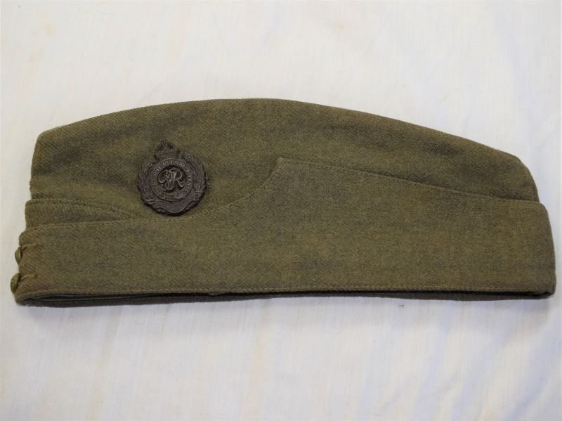 2) Excellent WW2 Indian Made British Field Service Cap with RE Badge & ID