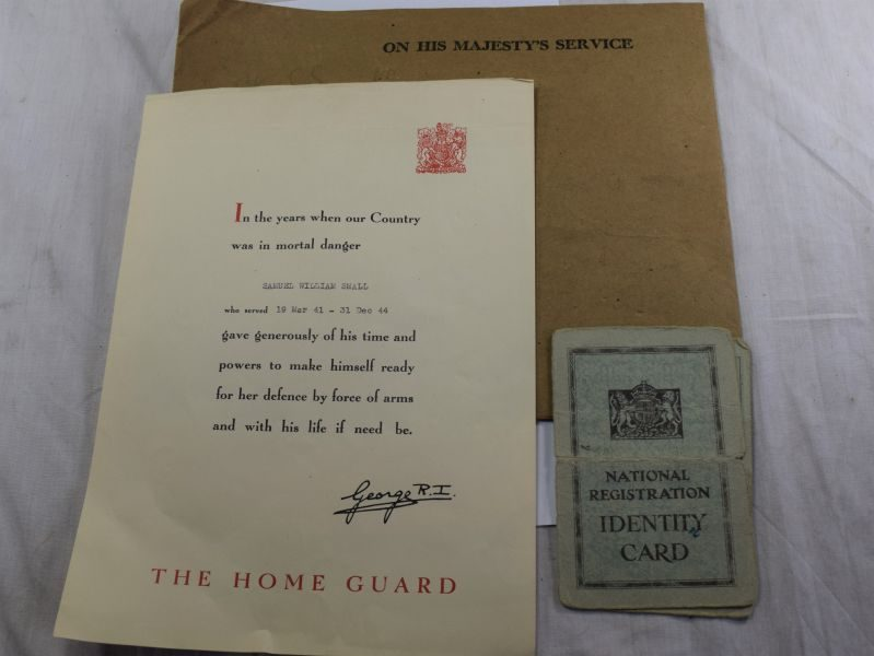 70) WW2 Home Guard Certificate & National Registration ID Card