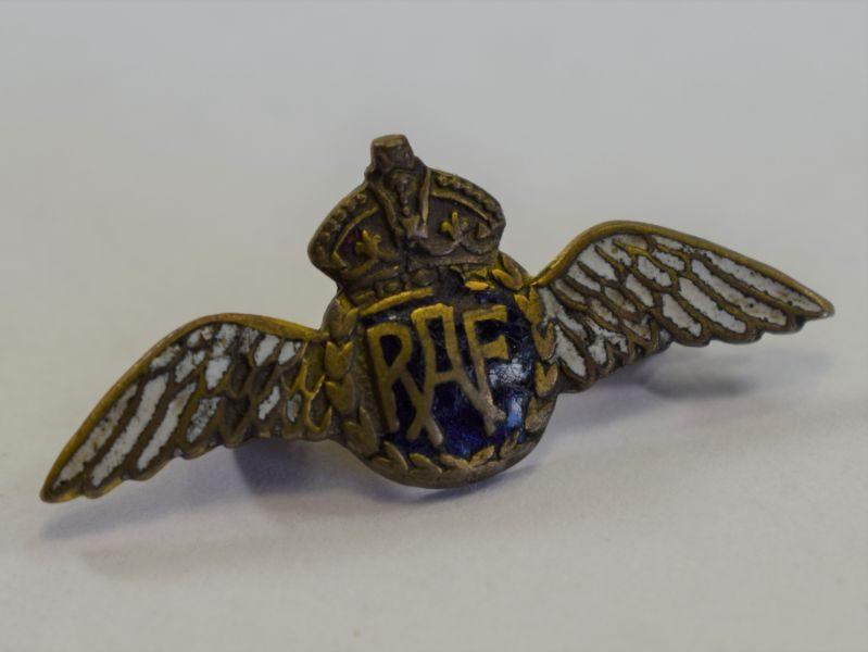 11) Tatty WW2 RAF Enameled Pilots Wings Sweetheart Brooch