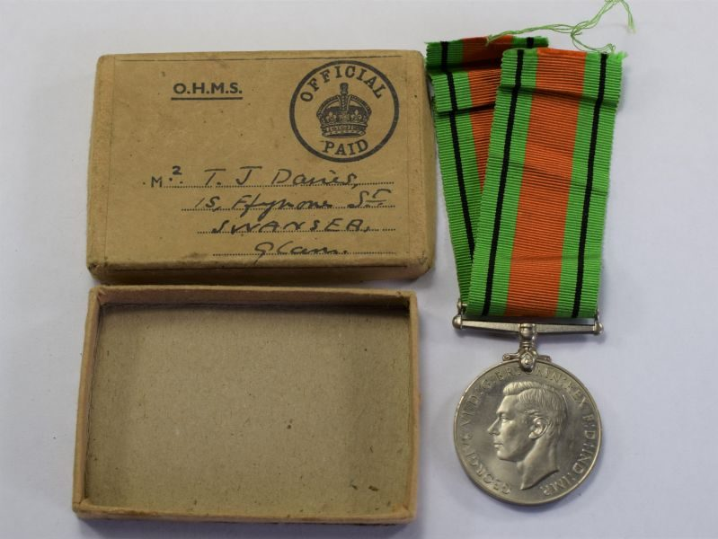 106) Original WW2 Defence Medal & Box Mr T.J.Davies, Swansea