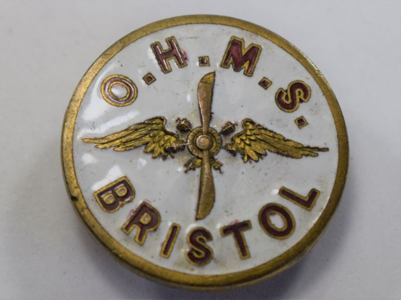 21) Excellent WW1 WW2 OHMS Bristol Aircraft Factory Workers Lapel Badge