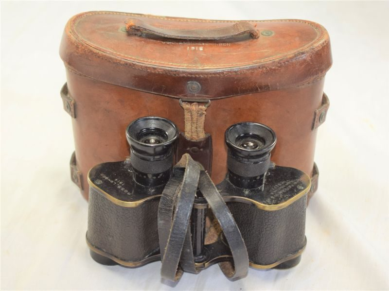 35) Excellent WW1 British Army Binoculars Dated 1914 & Case Dated 1915