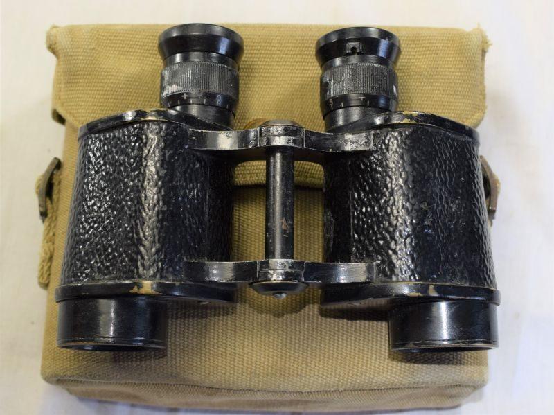 36) Excellent WW2 British Military Issue 6X30 Binoculars & Web Case 1941