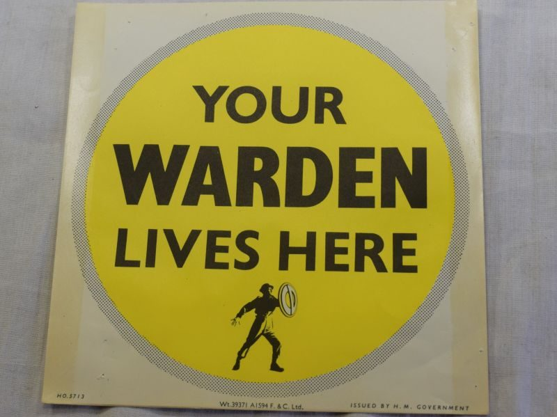Original WW2-1950s? Civil Defence Warden Lives Here Window Sticker