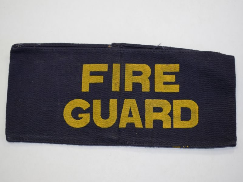 42) Good Original WW2 Fire Guard Armlet, Yellow on Blue