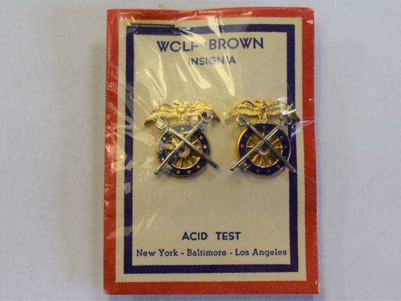 43) WW2 US Army Quartermasters Corps Enamel Collar Insignia on Original Card