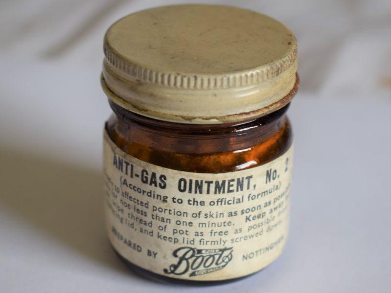 46) Unusual WW2 British Glass Pot of Anti-Gas Ointment No2