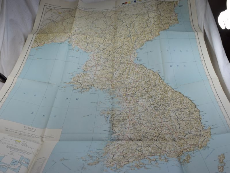 A) WW2 Korean War US Army Issue Map of Korea 1945 Before Division