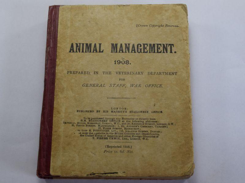 59) Original WW1 Handbook on Animal Management 1908 Dated 1917