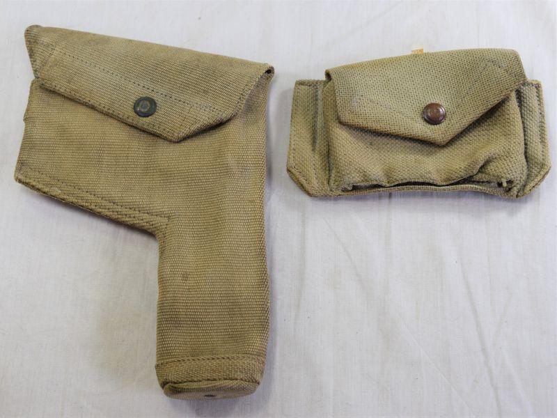 63) Original WW2 RAF 1925 Pat Webbing Pistol Holster & Ammo Pouch AM1941