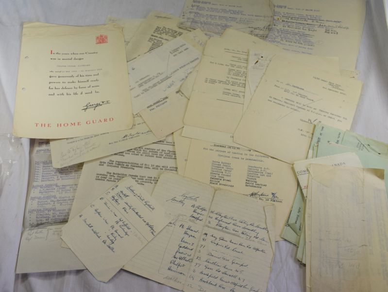 72) Large Collection WW2 & Post War Home Guard Papers to W.O.Haythorne Middlesex HD.