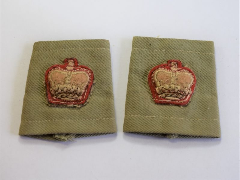 80) Early Post WW2 British Army Majors Rank Slides in KD