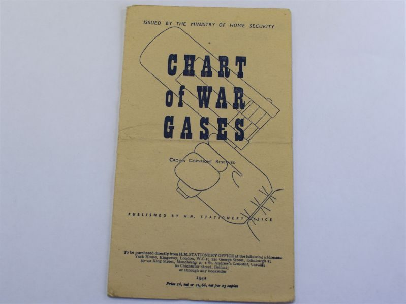 93) Original WW2 British Fold Out Chart of War Gasses 1942