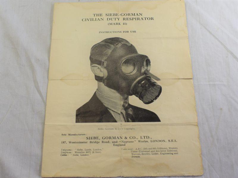 94) Tatty Original WW2 Siebe Gorman Civilian Duty Respirator MKII Instructions for Use Sheet
