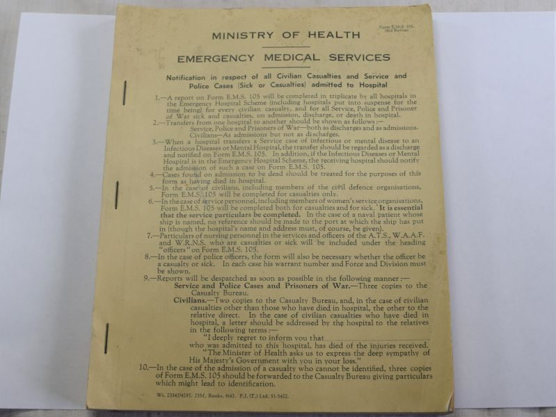67) WW2 Ministry of Health Emergency Medical Services Casualty Slip Book 1942