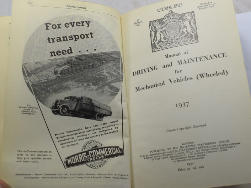 Large Manual of Driving & Maintainance For Mechanical Vehicles (Wheeled) 1937