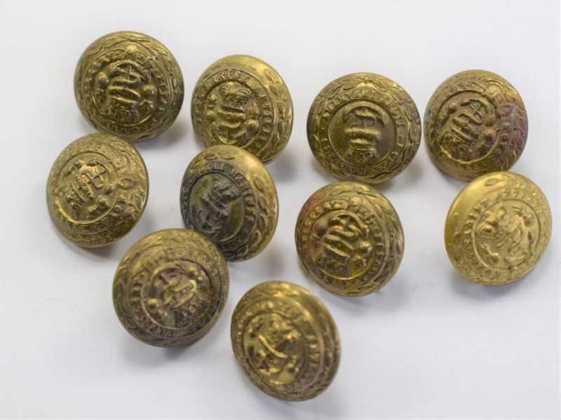 62) Set of 10 Small Victorian Royal Marines Artillery Buttons