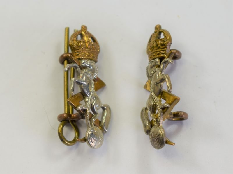 71) Excellent Early Post WW2 REME Officers Collar Badge Pair Kings Crown