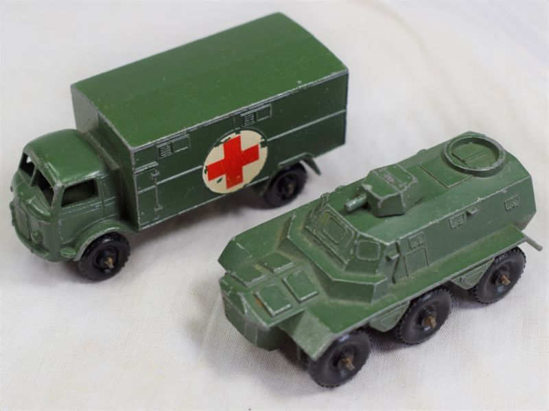 77) Original 1960s Lesney Toys Service Ambulance & Saracen Personnel Carrier