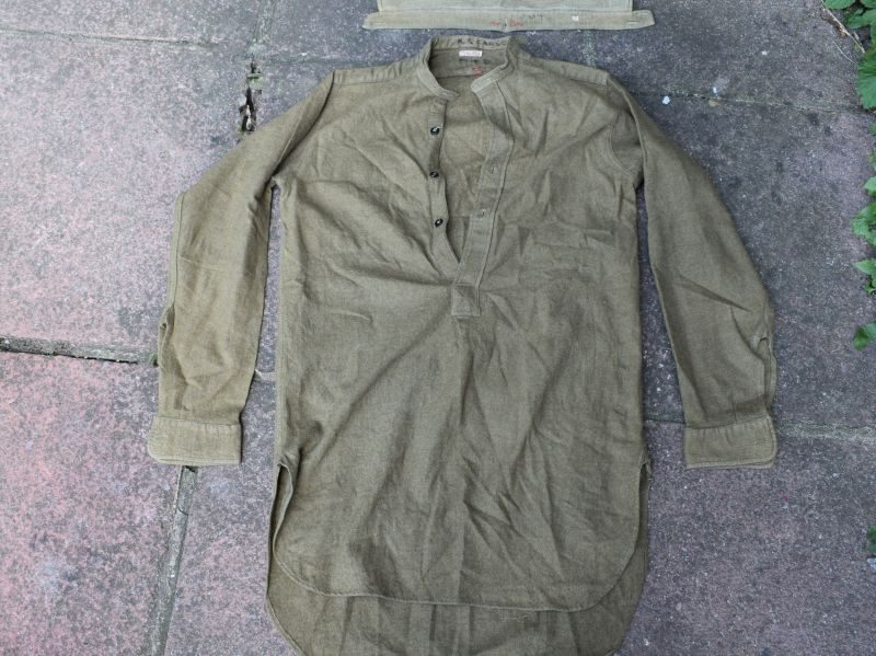 4) Excellent Original WW2 British Army Overhead Collarless Shirt