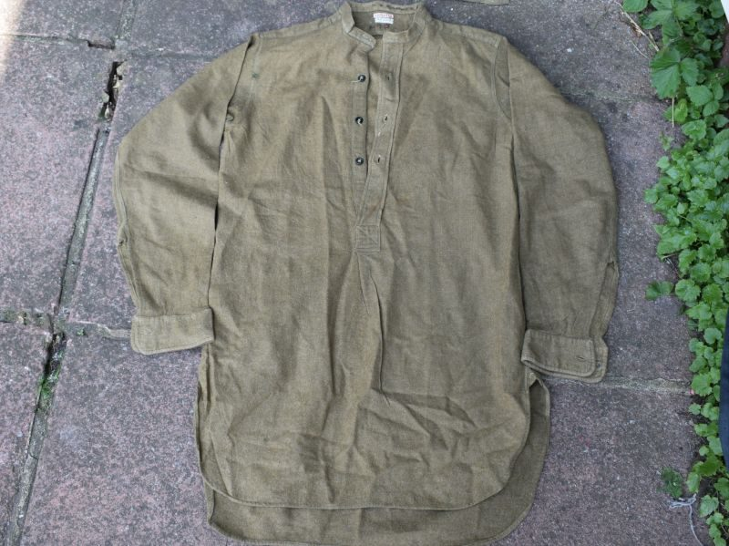 5) Original WW2 British Army Overhead Collarless Shirt