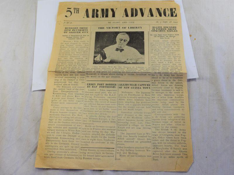 82) WW2 US 5th Army Advance Newspaper Sept 28th 1943