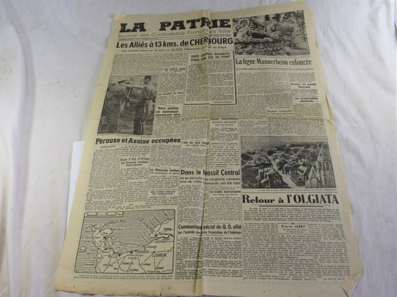 83) Original WW2 French Newspaper La Patrie For Soldiers Fighting in Italy 1944
