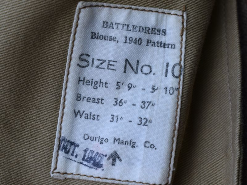 11) WW2 British Army 1940 Pat BD Blouse 1942. Lieutenant Colonel E.J.Brown, RA