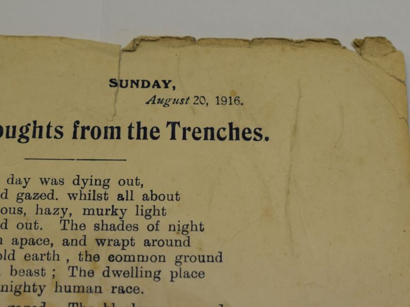 43) Original WW2 Poem Sunset Thoughts from the Trenches Leaflet 1916