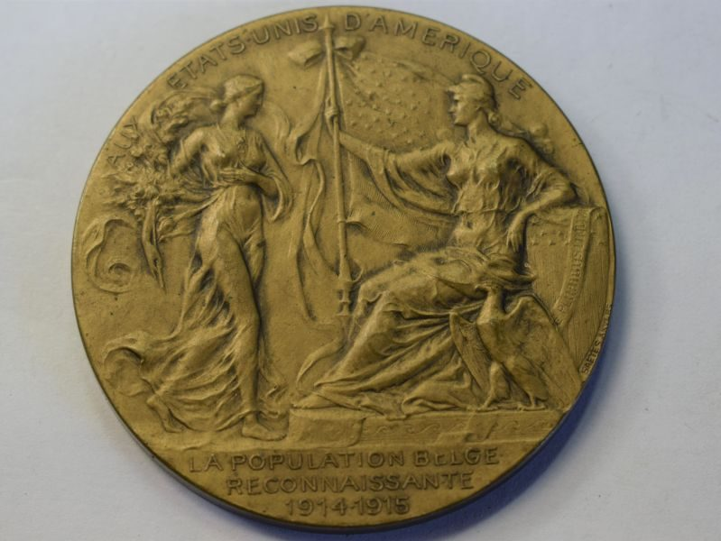 49) Belgian Medal in Recognition of Americas Help To Belgium in WW1