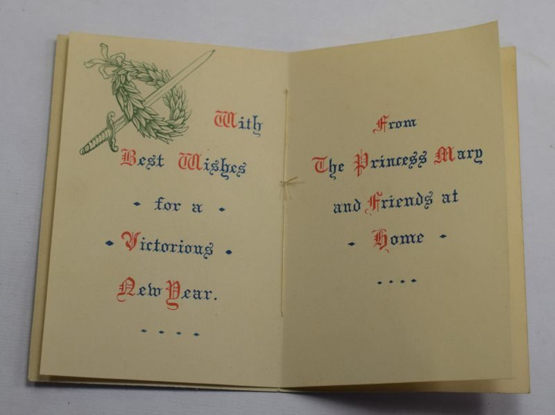 2) Excellent Original WW1 Princess Mary Tin New Year Card 1915