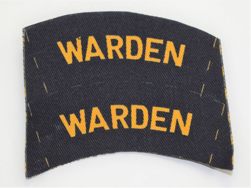 10) Original Uncut Pair WW2 ARP Wardens Printed Cloth Shoulder Titles