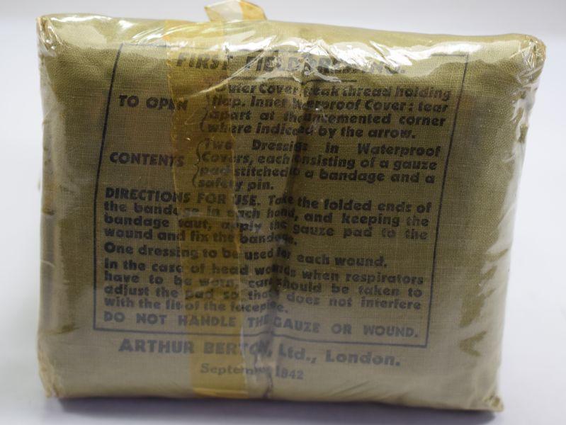 Excellent Original 1942 Dated British First Field Dressing in Original Cellophane
