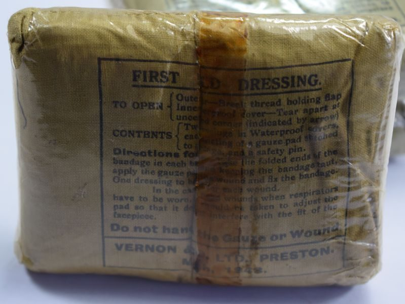 Excellent WW2 British First Field Dressing in Original Cellophane Dated 1943