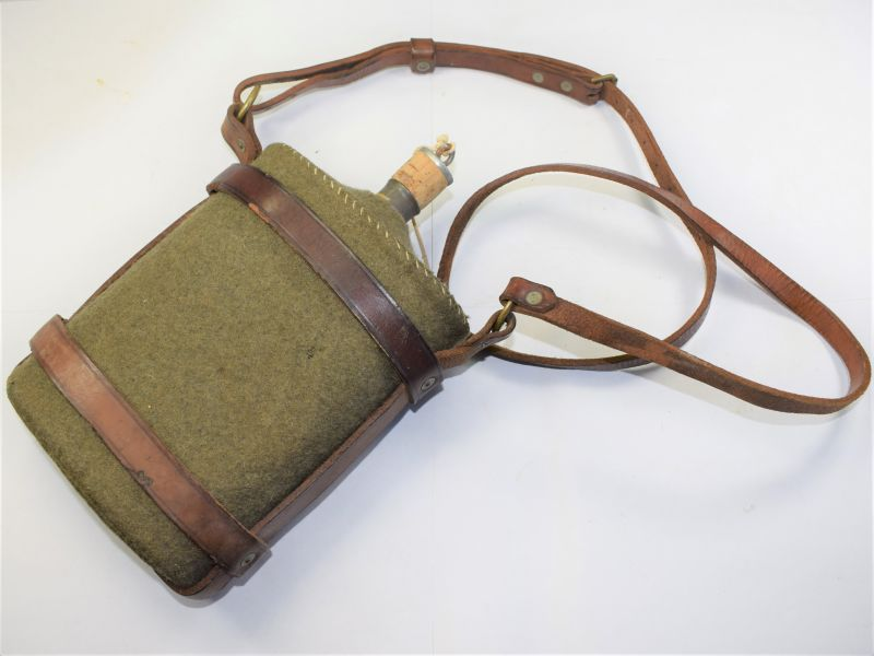 Unusual WW1 British Army Water Bottle & Leather Cradle