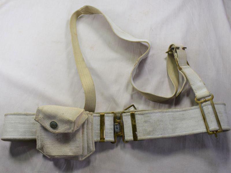 A27) Post WW2 37 Pattern Military Police White Webbing Set