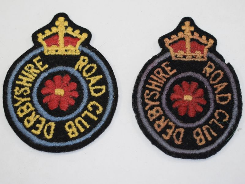 6) Original 1930s? Derbyshire Road Club Kings Crown Cloth Badges