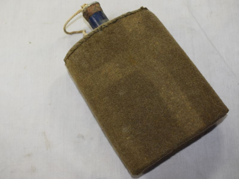 Original WW2 British Army Blue Enamel Water Bottle with blanket Cover