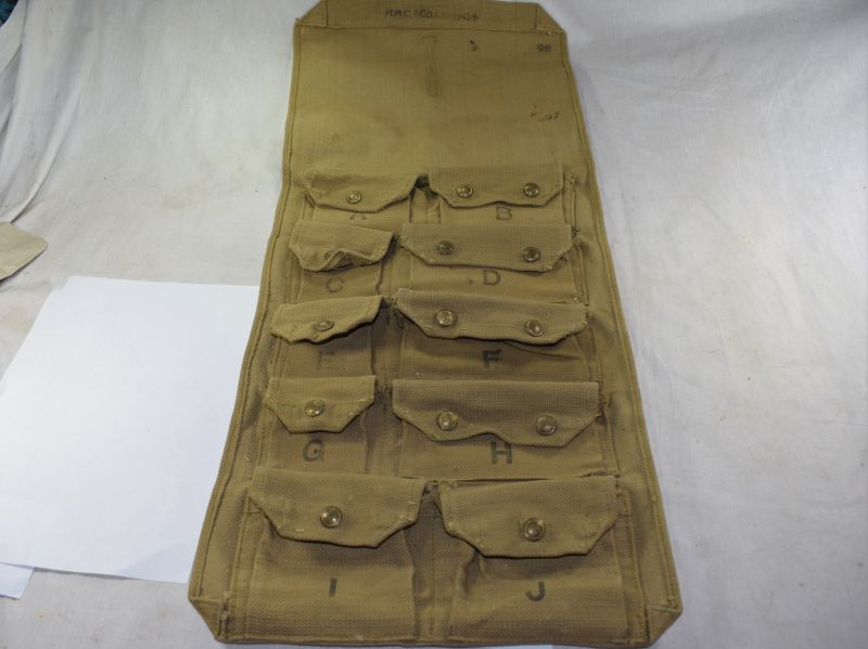 A17) Unidentified WW2 British Army Tool Roll Spares Roll H.H&C Co Ltd 1942.