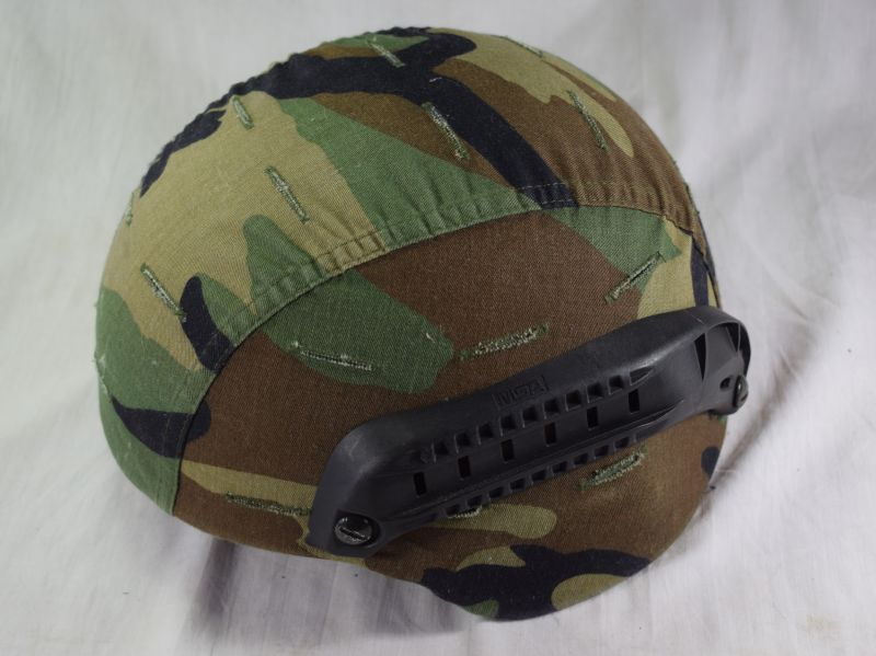 US Army Issue MSA Gallet Combat Helmet & Woodland Camo Cover Large Size
