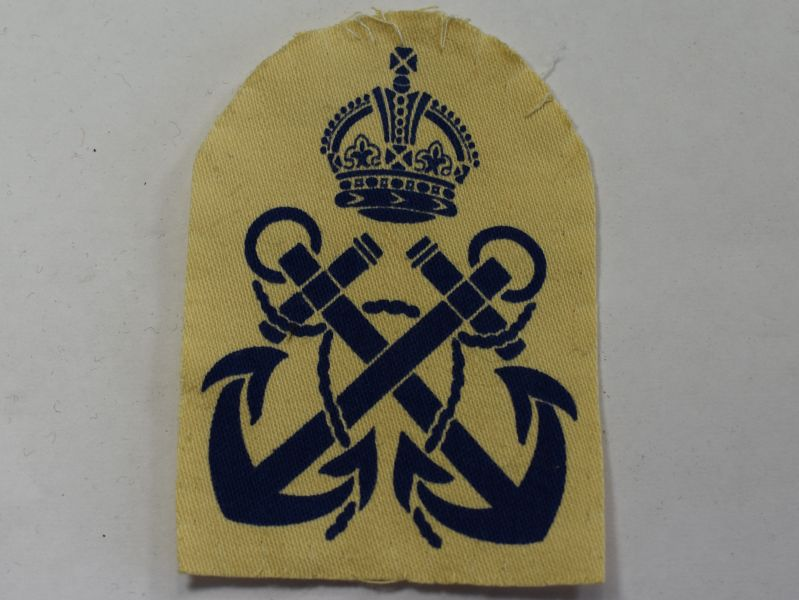 46) WW2 Royal Navy Ratings Trade Badge Printed on White Backing
