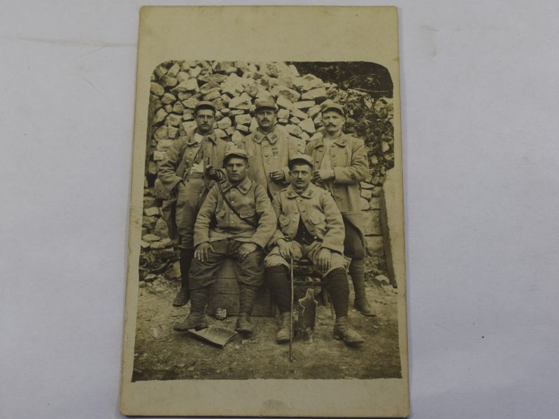 K) Interesting WW1 Group Photo of French Soldiers with info