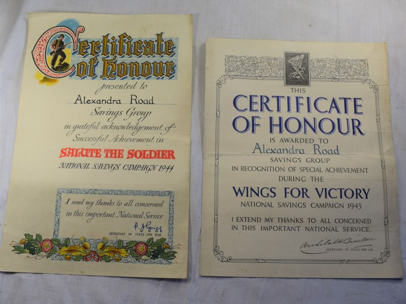 X) Original WW2 Salute The Soldier & Wings For Victory Certificates Alexandra Road Balby Doncaster
