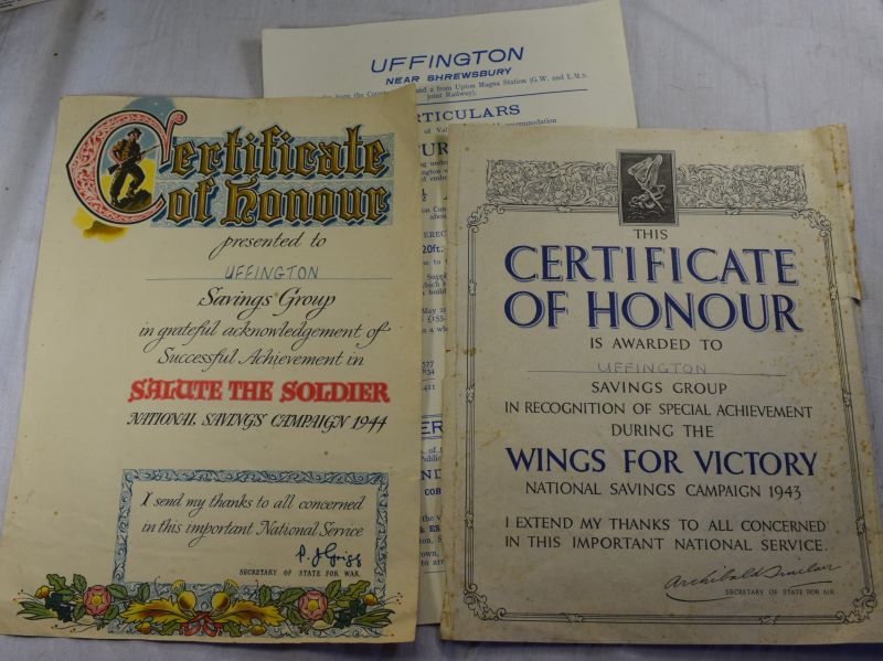 Y) Original WW2 Salute The Soldier & Wings For Victory Certificates for Uffington Shrewsbury
