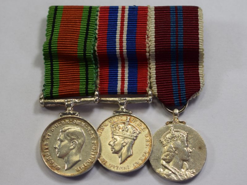 66) Original Court Mounted Miniature Medal Group Defence & War Medal & Queens Coronation Medal