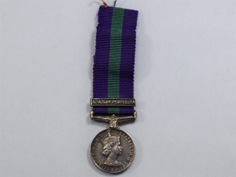 68) Original ERII General Service Miniature Medal & Arabian Peninsula Bar